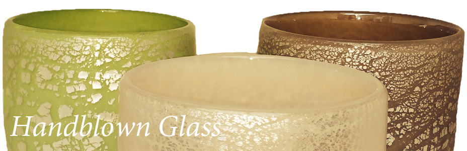 handblown large coloured bowls with silver cracks