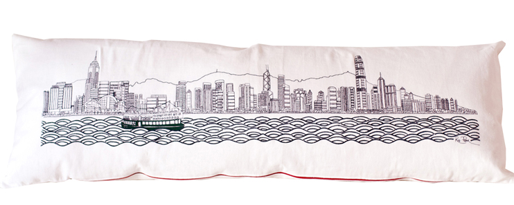 handmade cushions with scenes of london, hong kong and shanghai