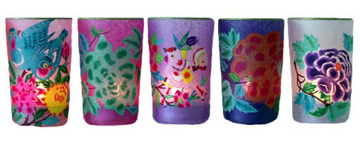 Colourful hand painted tea lights