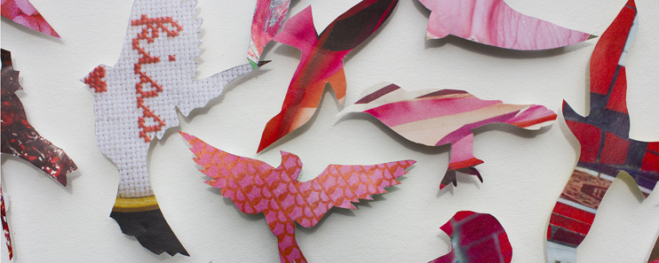Paper Art Picture Close up of flying birds