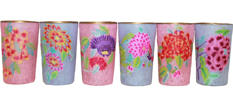 colourful, floral hand painted tea lights