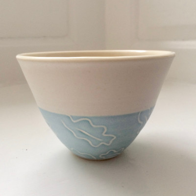 Oak Leaf Bowl - Aqua on White
