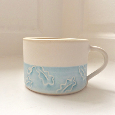 Oak Leaf Mug - Aqua and White