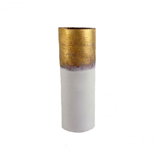 White & Gold, Tall, Bark Textured Vase