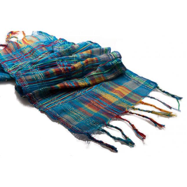 Mandala inspired scarf - Blue weft