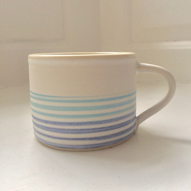 Blue on White Stripe Mug