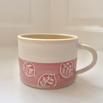Oak Leaf Mug - Pink on White