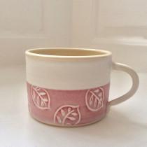 Oak Leaf Mug - Pink on White