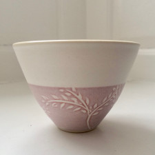 Willow Bowl - Pink on White